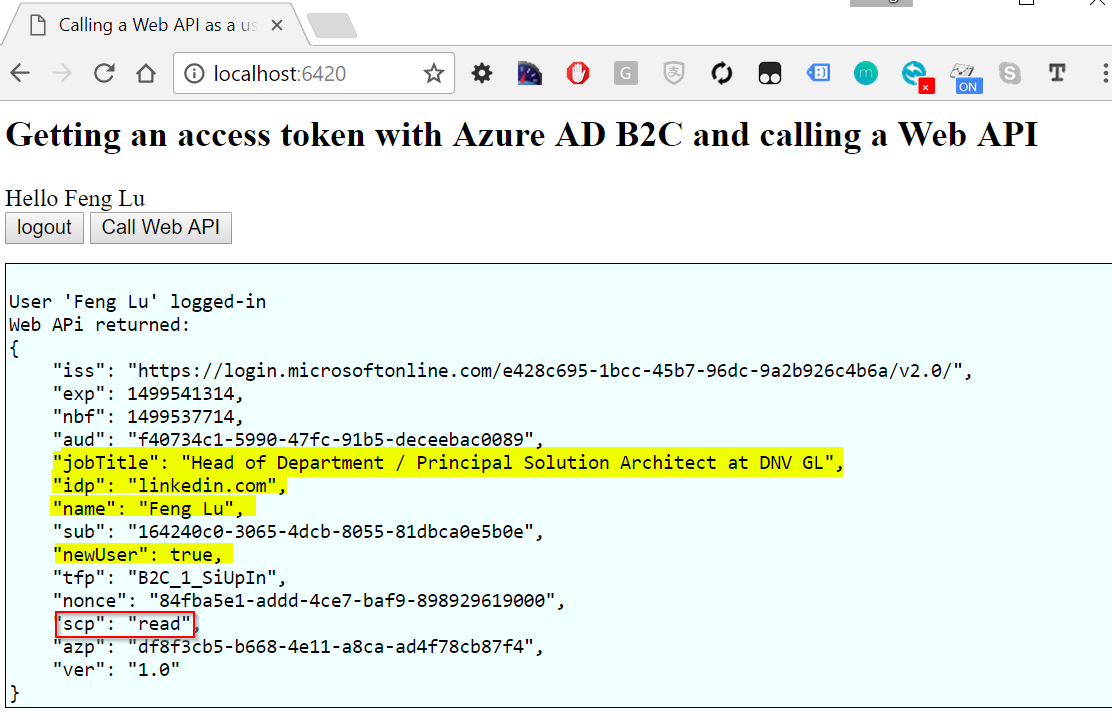 OAuth in Azure AD B2C with Nodejs | feng blog()